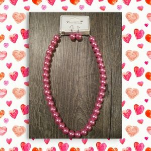 NWT PINK necklace & Earring set🌺🌷🌺